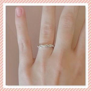 NEW Sterling Silver Braided Clear CZ Ring